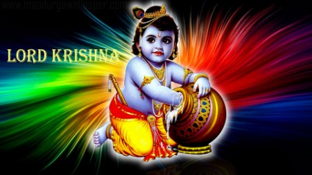 Little bal krishna with flute image