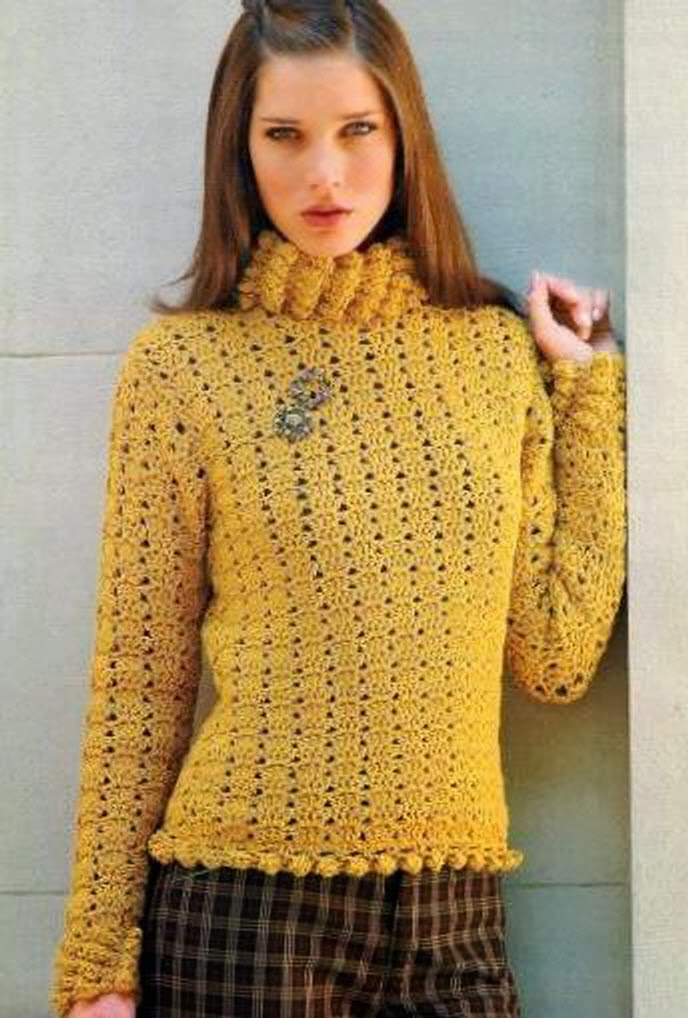 Jersey Rustico Crochet Patron e Instrucciones