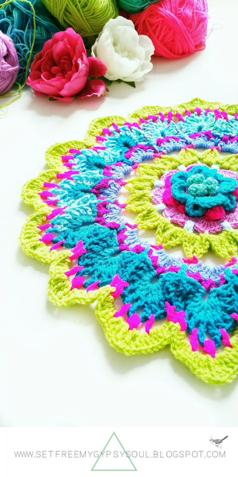 flower mandala doily crochet pattern free boho bohemian