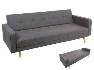 Sofa Cama 3 Plazas Tela Gris Sixty