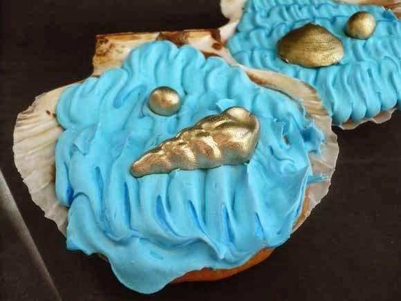cupcakes gebakken in echte schelp