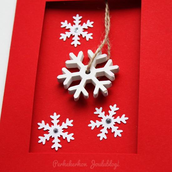 Kuva: Itse tehdyt joulukortit joulukoristeita