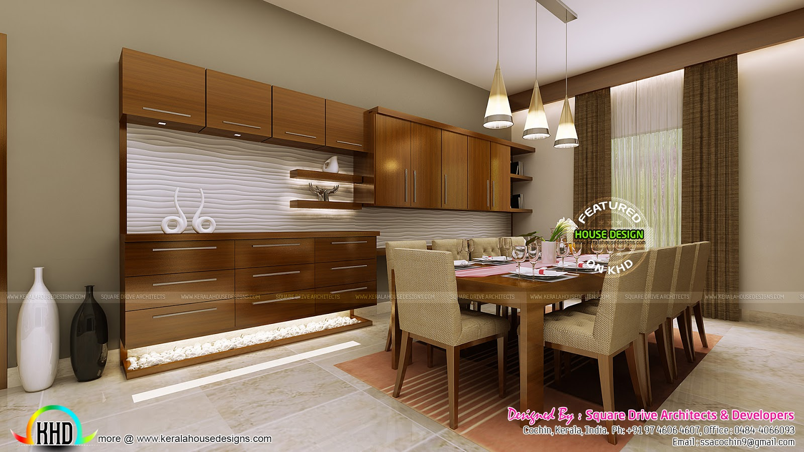 Villas wall design and villa design on pinterest for Dining room designs kerala