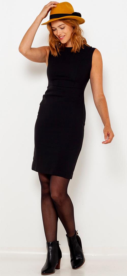 Robe courte fourreau noire CAMAIEU