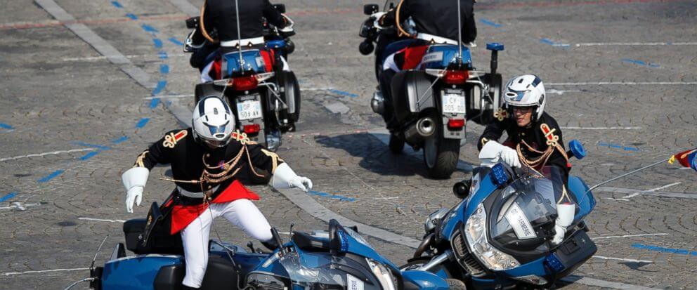 Motorcycles Of French Police Crash During Bastille Day Parade