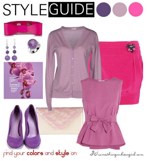 pretty work wear outfit with Radiant Orchid for Light Summer