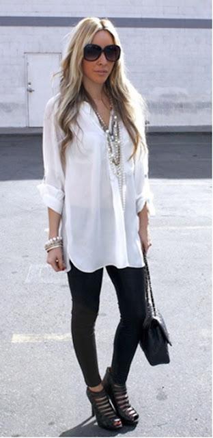 camisa branca legging