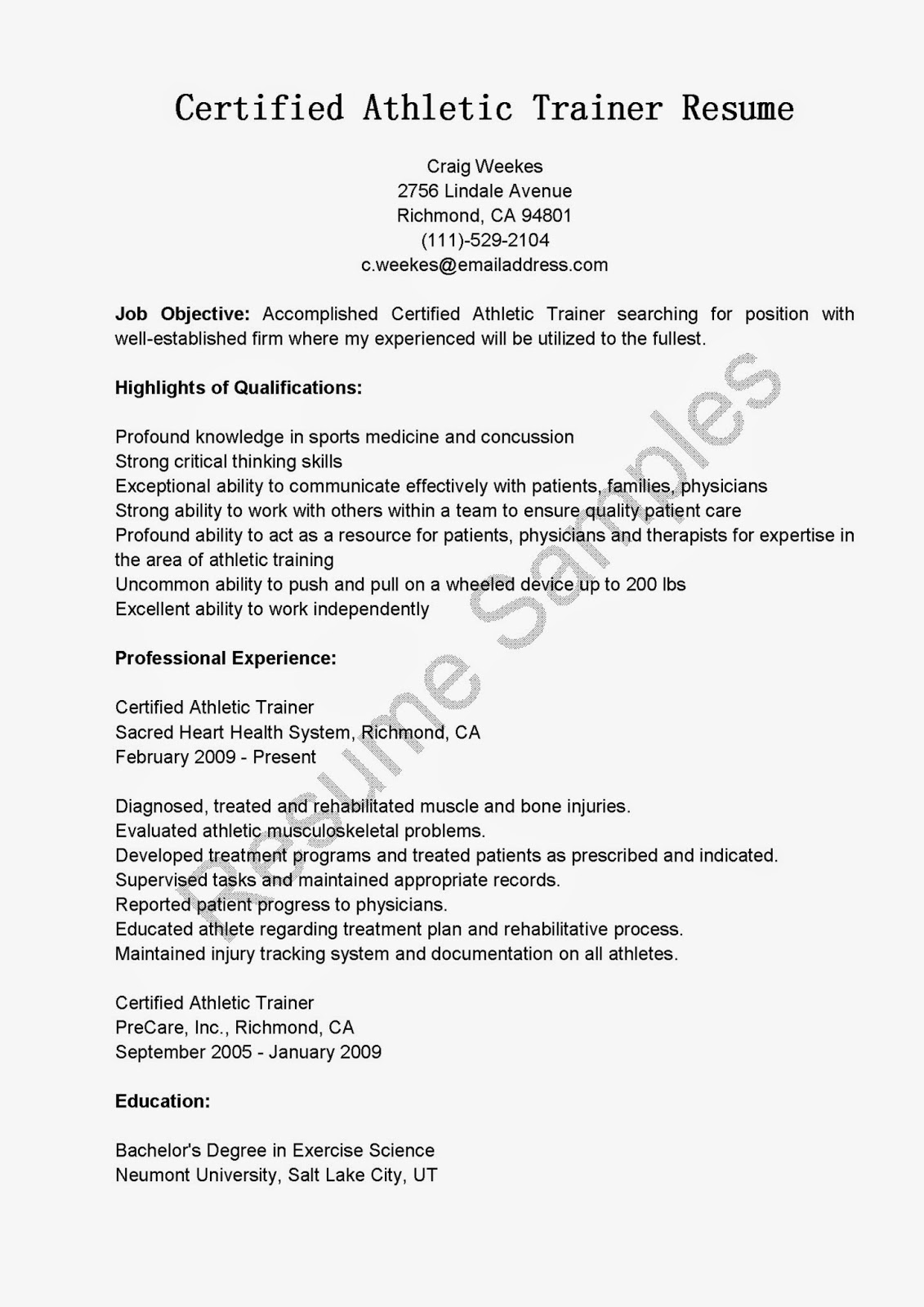 Personal Trainer Resume Objective Examples Resume Samples Certified Athletic Trainer Resume Sample