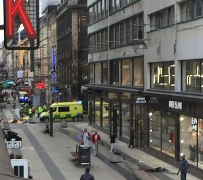 Truck ploughs into shop in busy Stockholm street, killing at least three and causing injury to many others