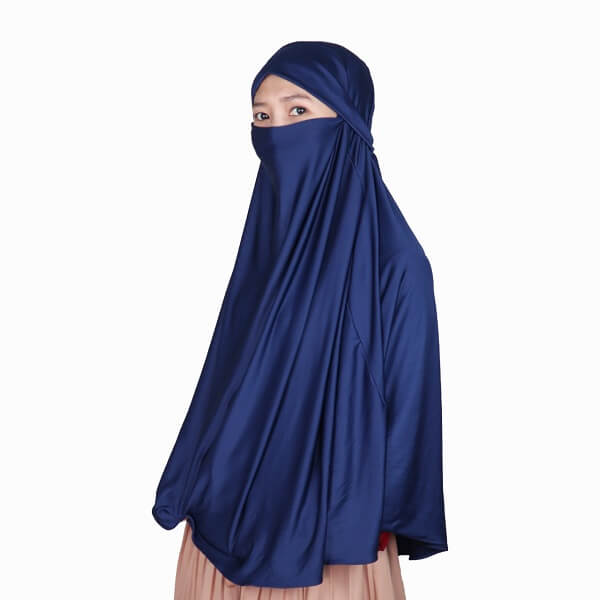 Kerudung Syari / Kerudung Corona Niqab Cadar - Navy