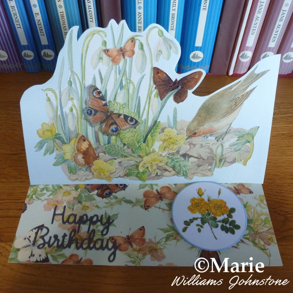 Butterfly and bird garden theme rectangle landscape easel decoupage card handmade by craftymarie