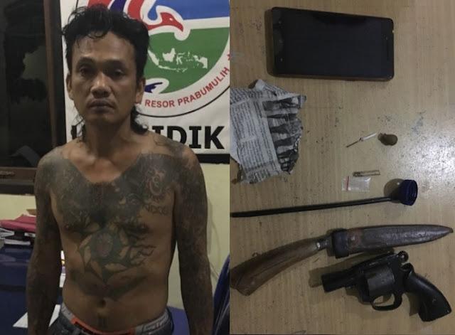 Indra,Simpan Shabu Dan Senjata Api Di Tangkap Polisi