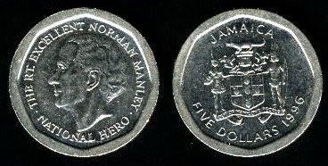 Jamaica 5 Dollars (1994-1995) 1994