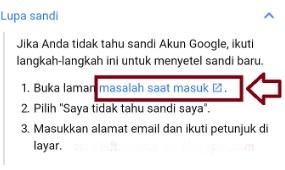solusi lupa kata sandi gmail
