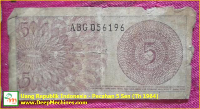 Gambar Depan Belakang Mata Uang RI - 5 Sen (Th 1964)