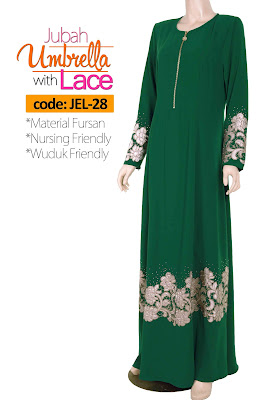 Jubah Umbrella Lace JEL-28 Green Depan 1
