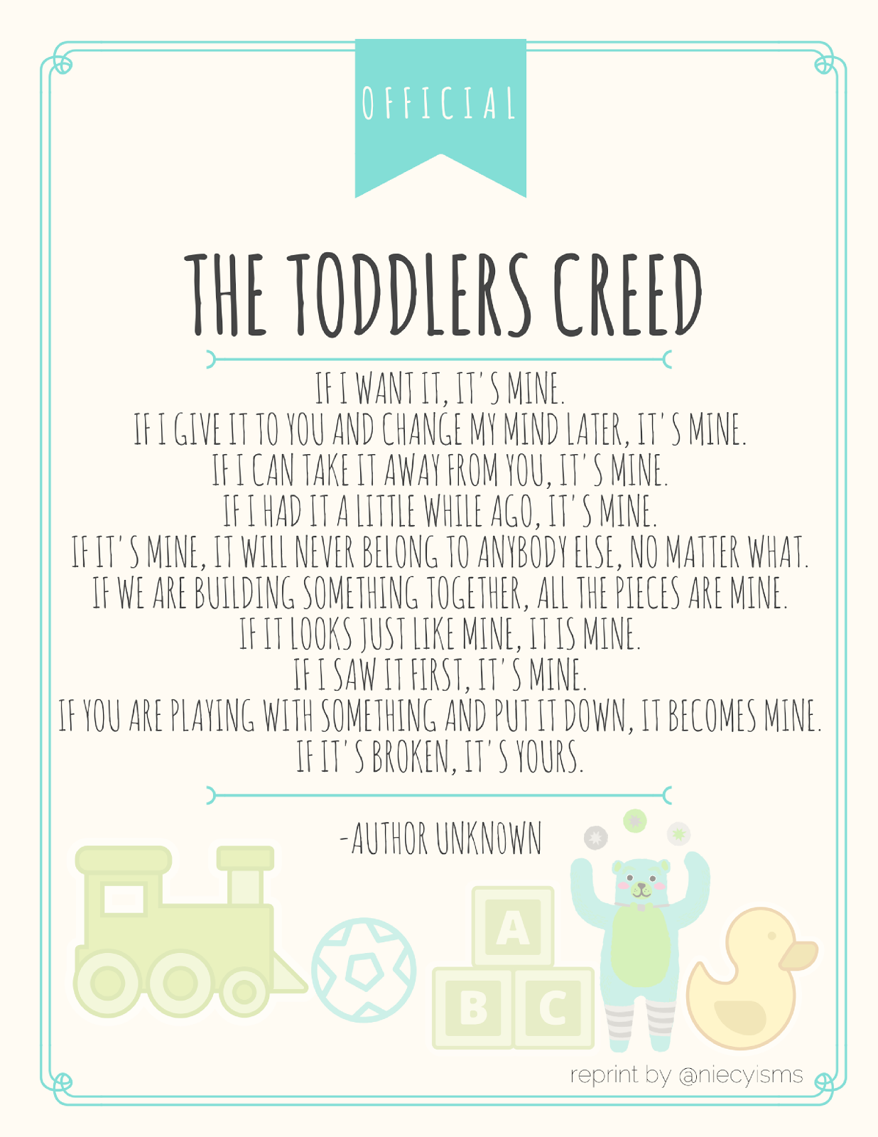 photo relating to Toddler Printable named The Infants Creed Printable