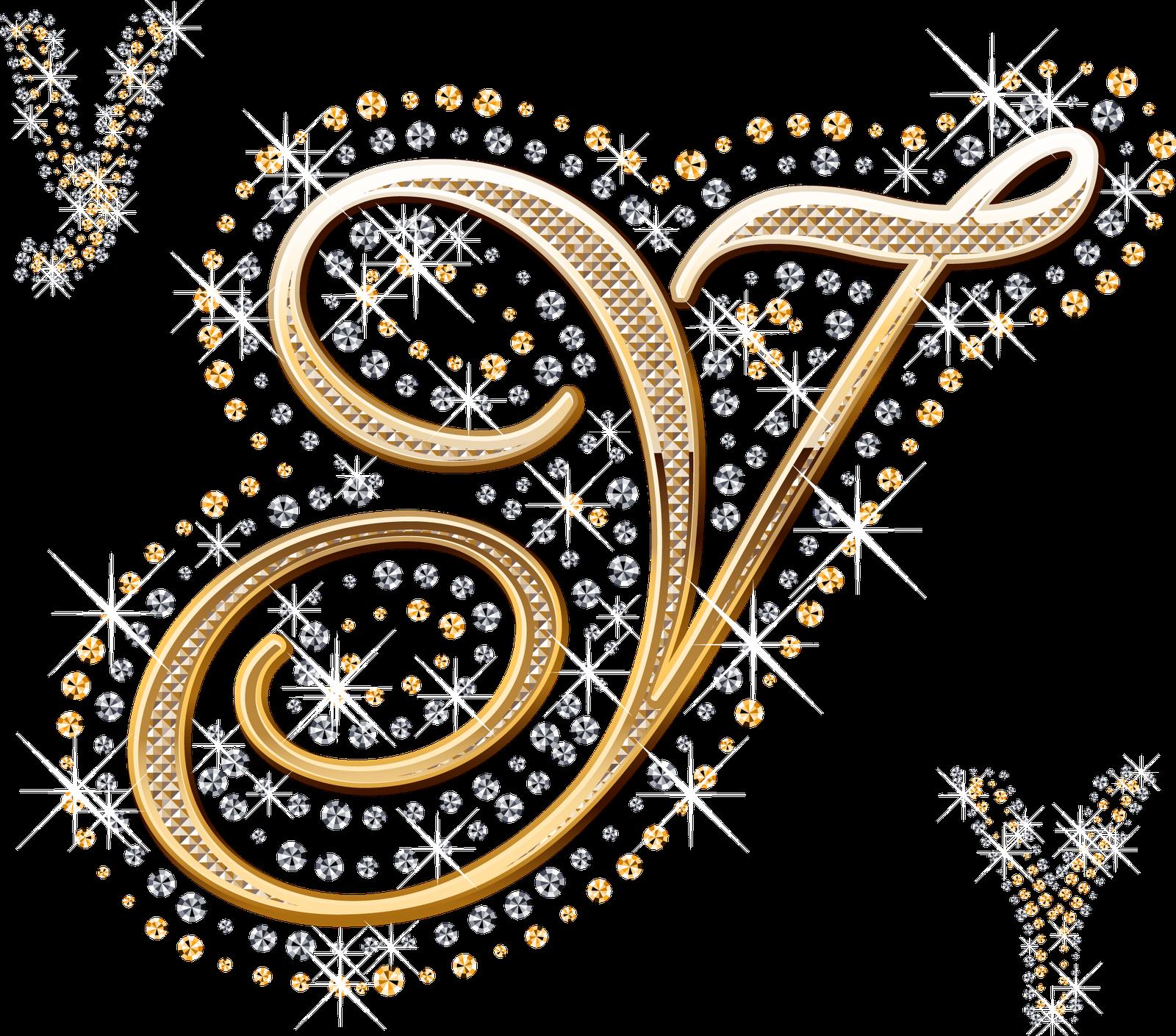 Alfabeto decorado dourado com strass em PNG - ALFABETOS LINDOS