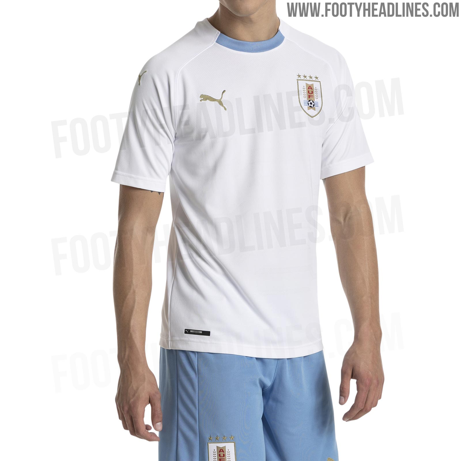 472991a8 Not one to generate extreme reactions in either direction, the Uruguay 2018  World Cup away jersey is white with gold Puma logos and sky blue trim on  the ...