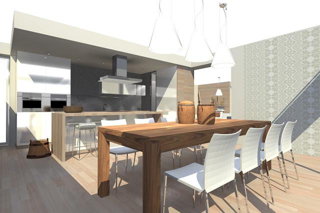 58891498c1b78 Moderná kuchyňa s rustikálnymi doplnkami a tapetou s motívom výšivky. Eva  Stalder Design