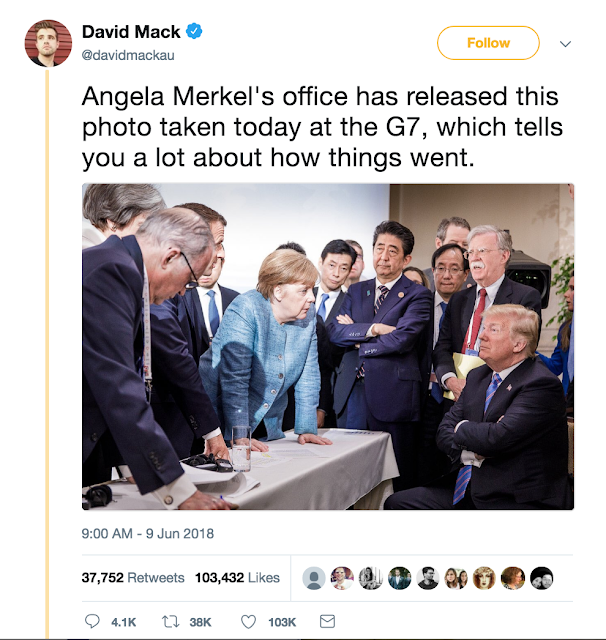 G7 summit @davidmackau Angela Merke's office released this photo taken today at G7. Tells you a lot about how things went