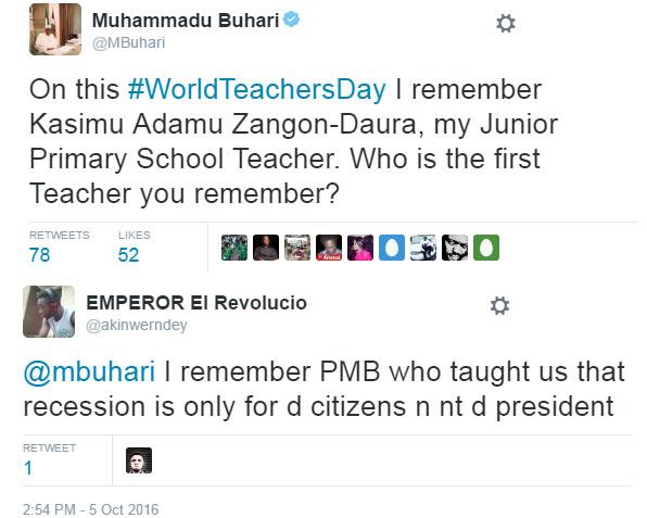 #WorldTeachersDay: Between President Buhari and a Twitter user...