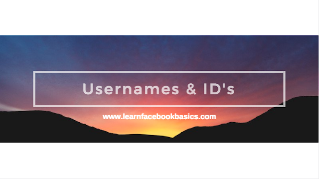 How are usernames and user IDs used on Facebook profiles?