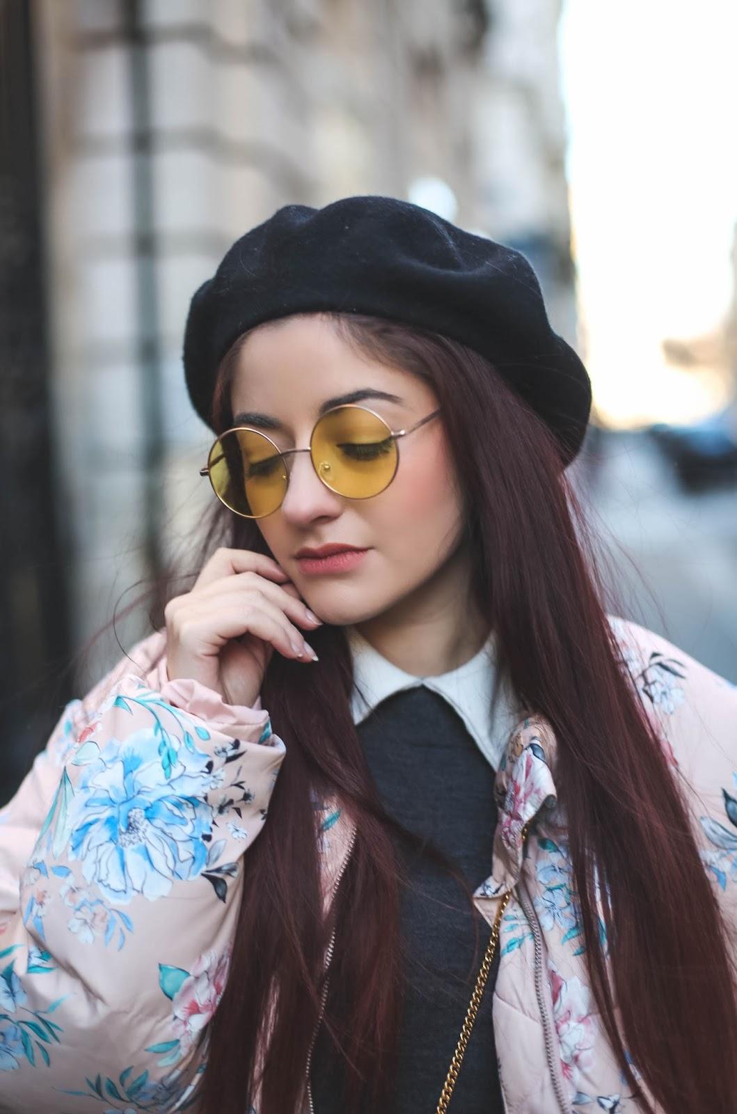 lunettes jaunes rondes retro blog mode