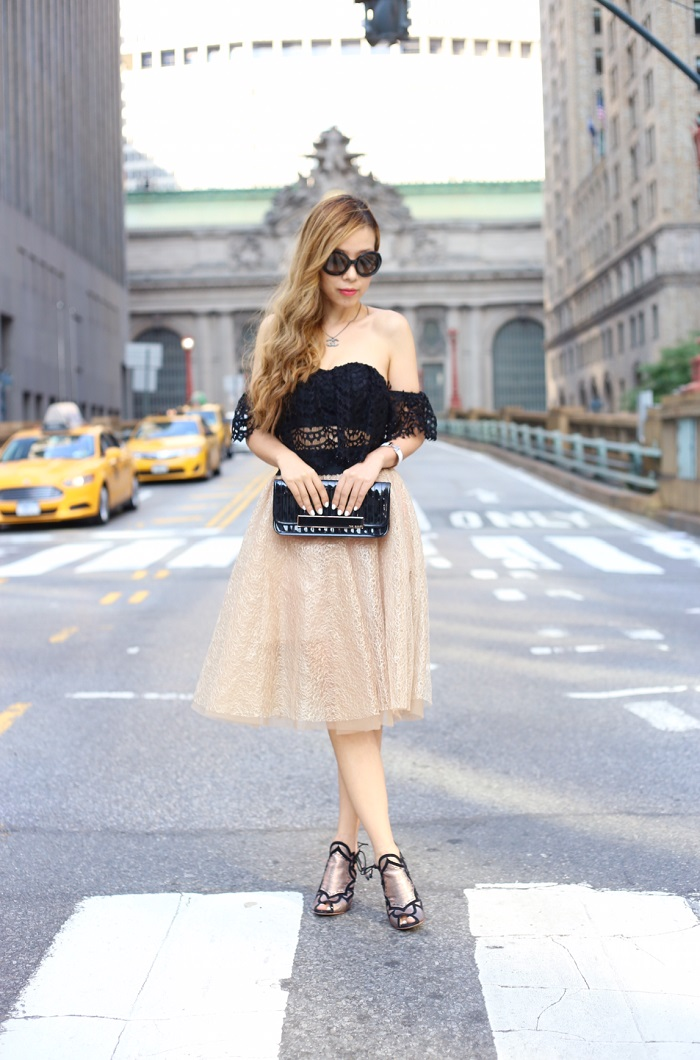 asos off shoulder crop top, pleated empire tutu skirt, sophia webster heels, ted baker clutch, hermes braceket, chanel necklace, shopbop sale, fashion blog, street style, date night outfit, prada sunglasses