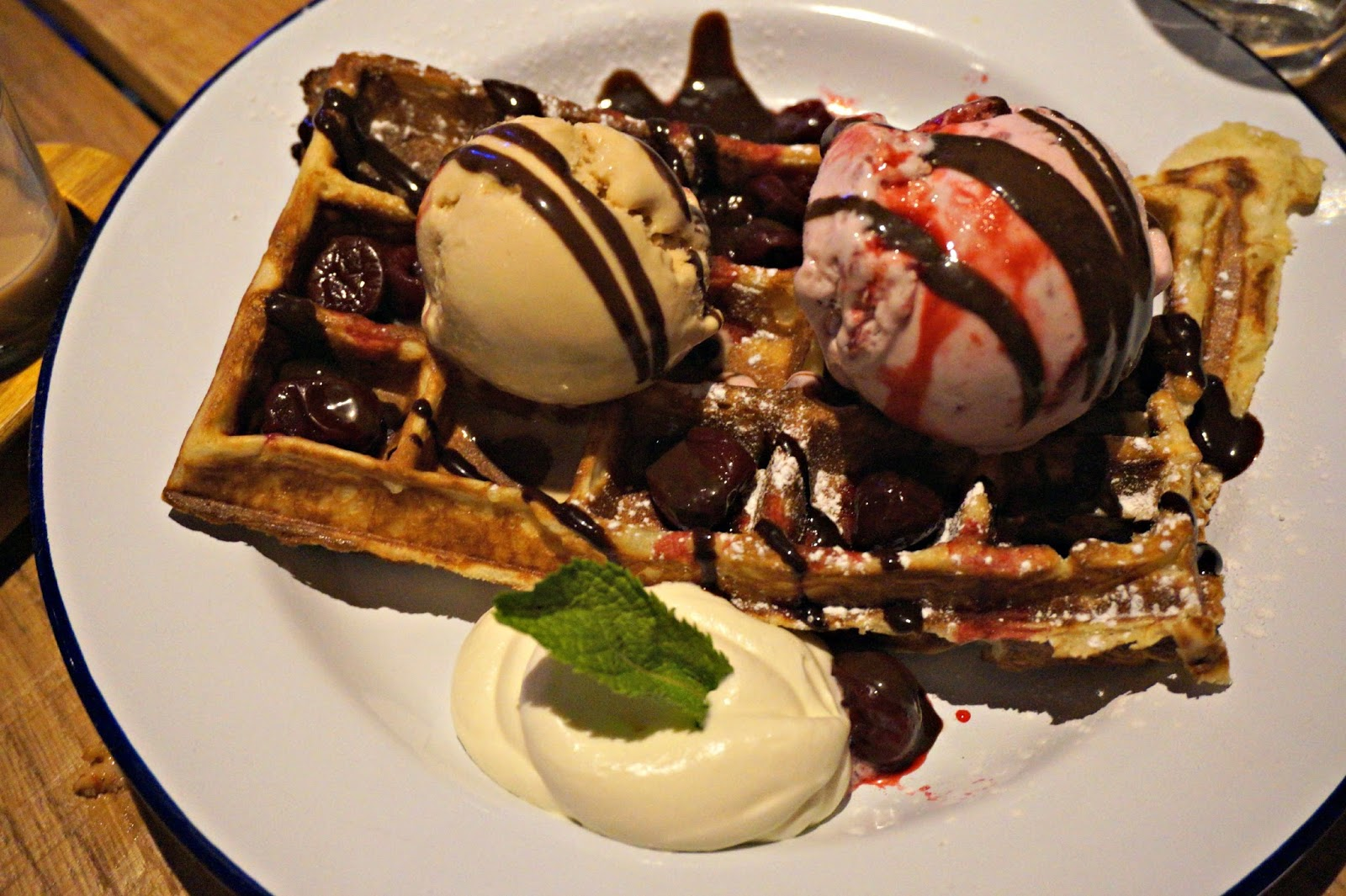 waffles with ice cream and berries