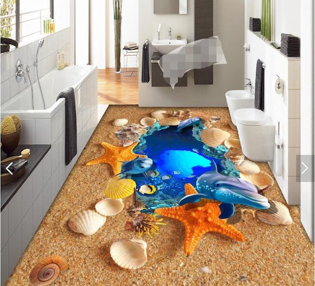 3D tiles designs for bathroom with sand and seashells