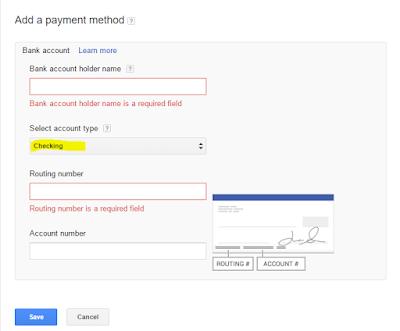 Metode Pembayaran Checking Untuk Payoneer dari Google Adsense