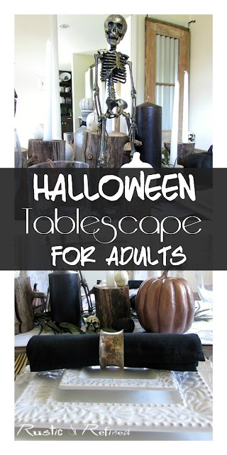Halloween tablescape for entertaining family,a stylish yet spooky idea.