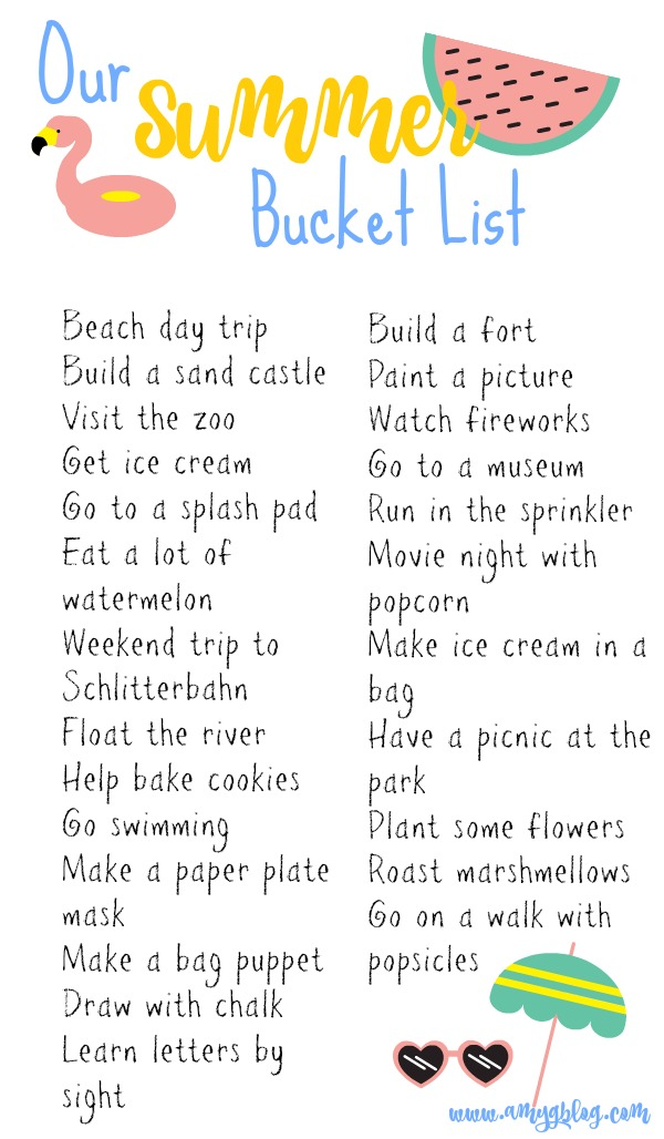 Our summer bucket list is packed with fun things to do this summer! A few items are geared towards families in Texas, but that doesn't mean you can't swap out Schlitterbahn with a water park nearby! Use this list to make one that's perfect for your family this summer! #summerfun #summerbucketlist #thingstodoinsummer #toddlersummerforfamilies