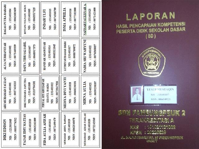 Label Nama dan NISN untuk Sampul Raport Kurikulum 2013