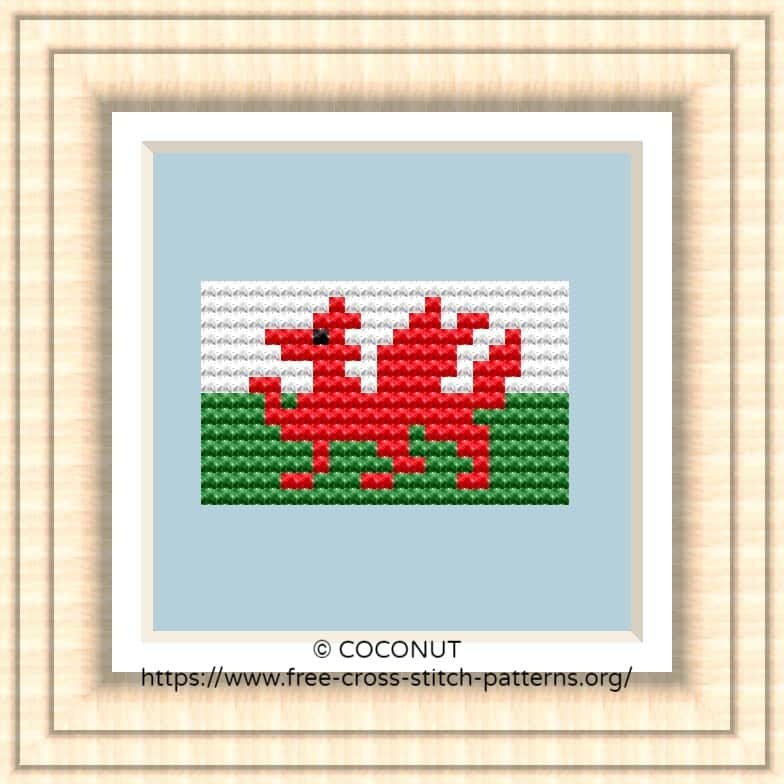 NATIONAL FLAG OF WALES CROSS STITCH CHAR