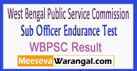 WBPSC Sub Officer Endurance Test Result Expected Cut off