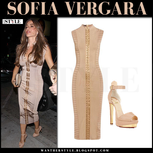 Sofia Vergara in beige camel and gold bodycon midi dress from Balmain what she wore celebrity style