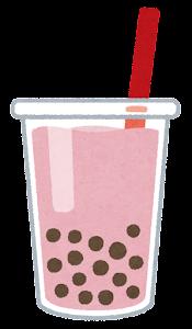 タピオカドリンクのイラスト(ピンク)