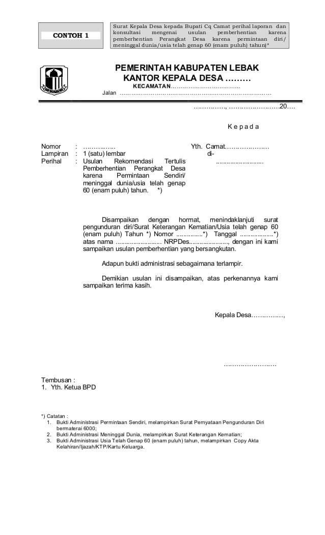 Contoh Surat Rekomendasi Pemberhentian Perangkat Desa