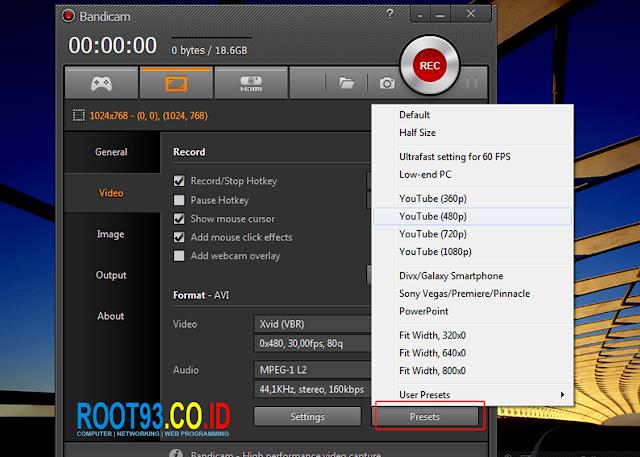 mengatur ukuran video ke ukuran yang direkomendasikan bandicam