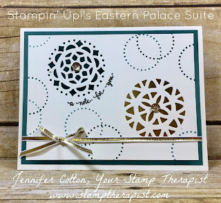 This card uses Stampin' Up!'s Eastern Palace Bundle (Eastern Beauty stamp set and Eastern Medallion Thinlits).  It's part of a FREE class mailed to your door you can earn in May 2017!  #stampinup #stamptherapist #handmadeby www.stamptherapist.com