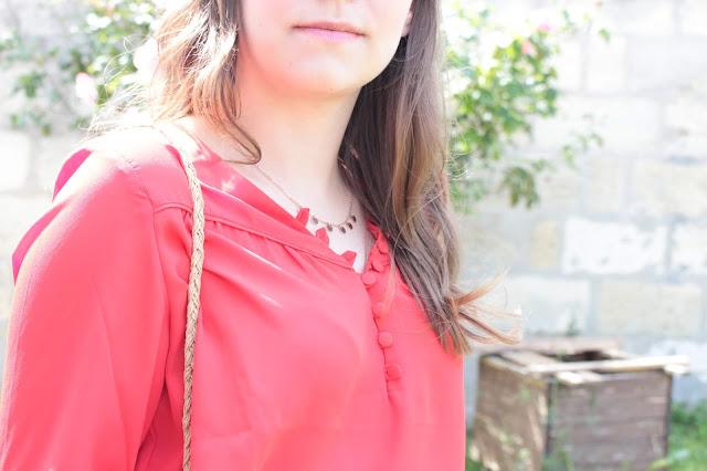 chemisier rouge camaieu