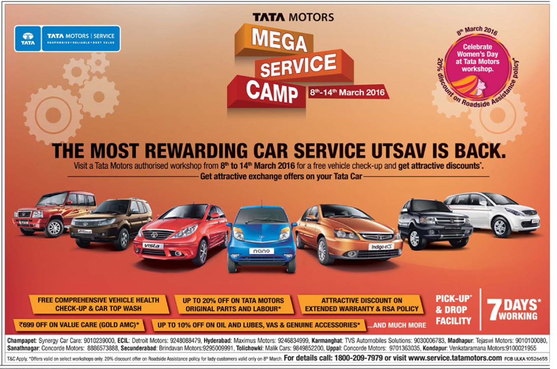 Tata Motors Mega Service camp | 8 - 14 March 2016 | March 2016 discount offer