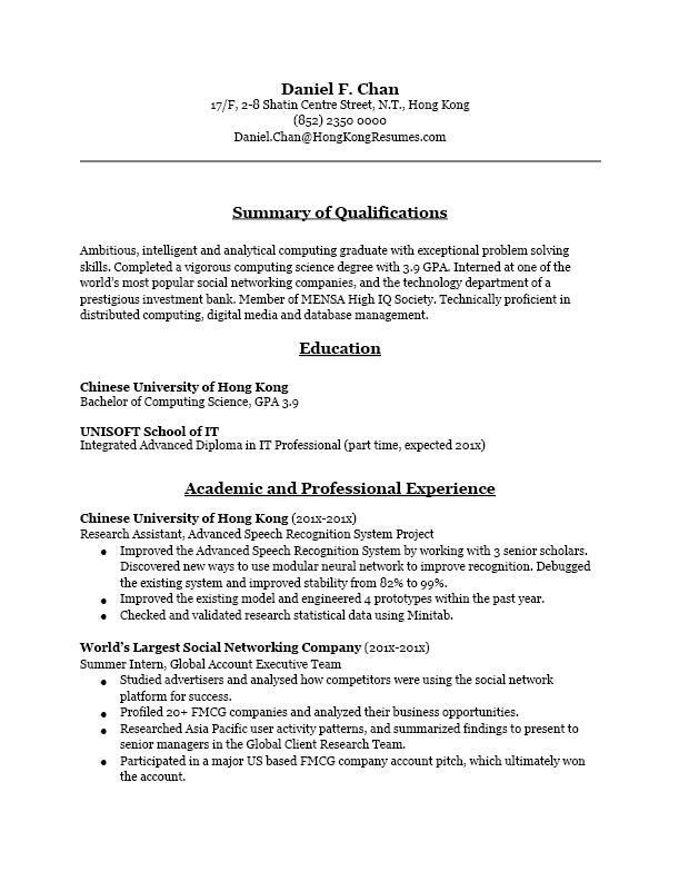 hong kong resume or cv