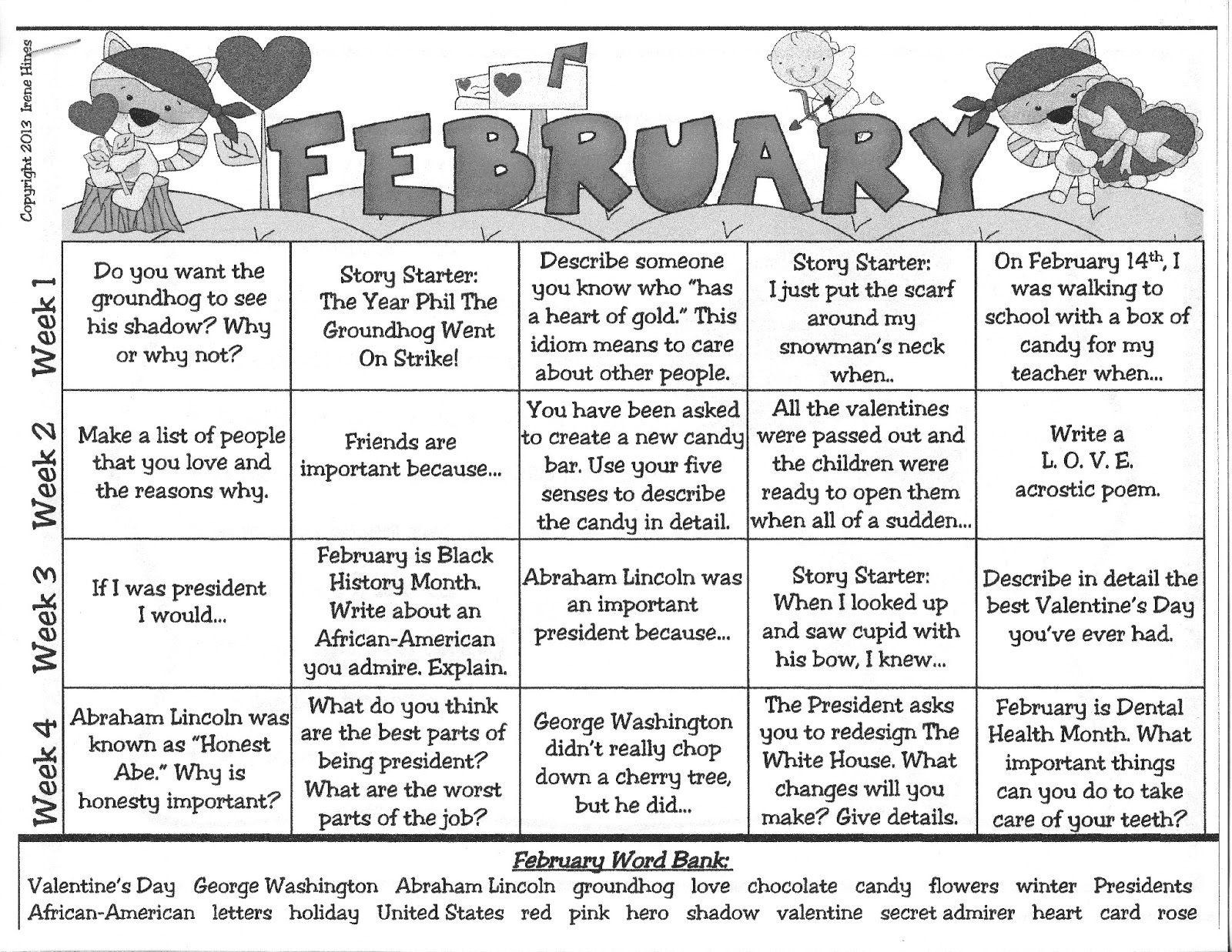 Mrs.Green's First Grade News: February calendar prompts