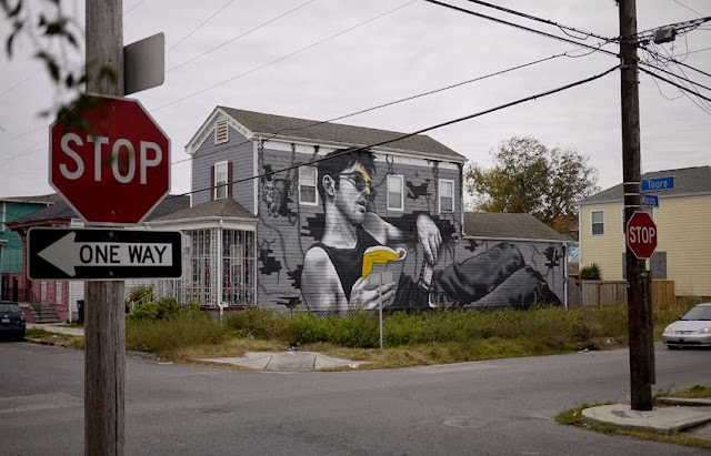 """""""Louisiana Blue Note"""" New Street Art Piece by MTO in New Orleans, USA 3"""