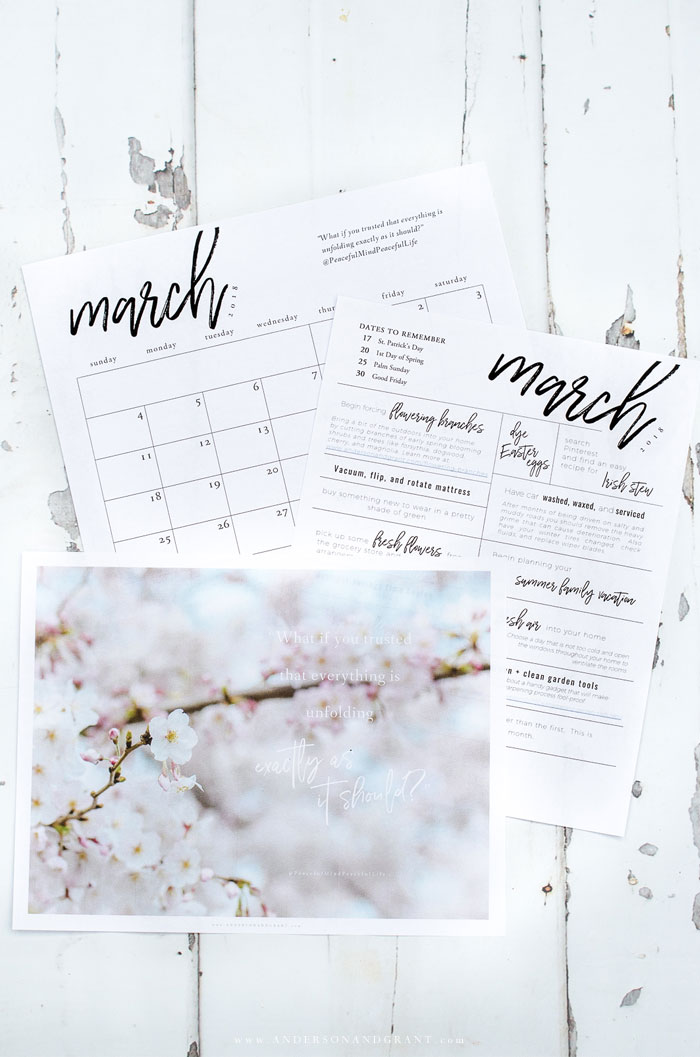 Stay organized and inspired in 2018 with these free printables - an inspirational quote, 2018 printable calendar, and monthly to do list.  |  www.andersonandgrant.com
