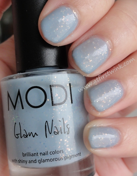 Modi nail polish 71 - Greater Light (light blue with irisdescent flakes)