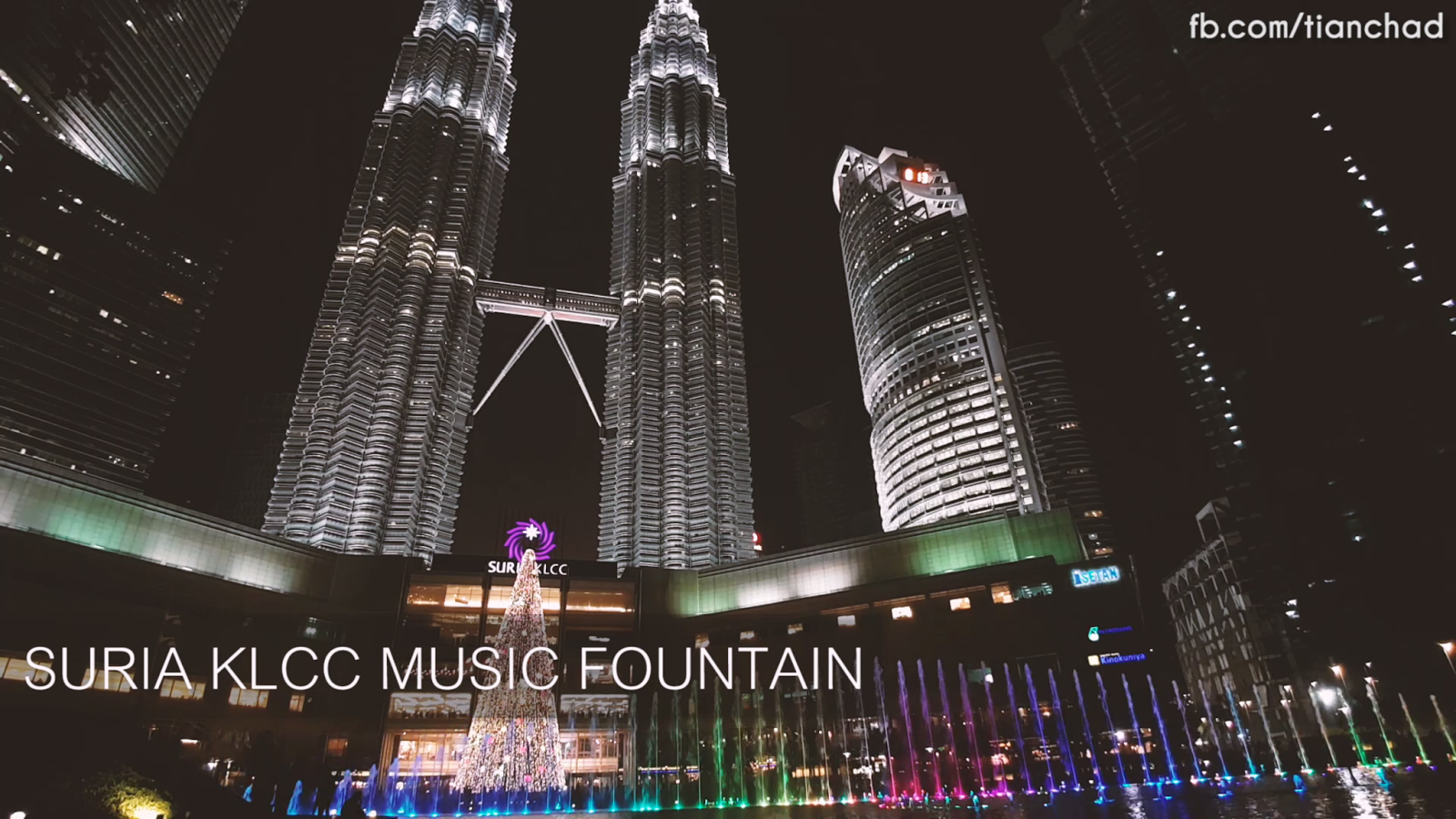 Suria KLCC Music Fountain at night is very colorful